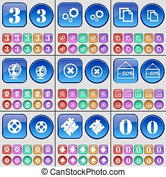 Three, Gear, Copy, Globe, Stop, Discount, Videotape, Puzzle, Zero. A large set of multi-colored buttons. Vector
