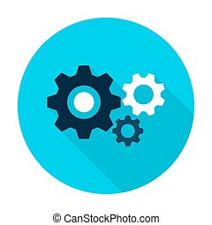 Three Gear Flat Circle Icon
