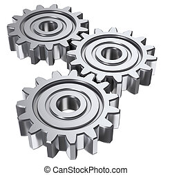 three gear - Isolated astract gears. 3D illustration.