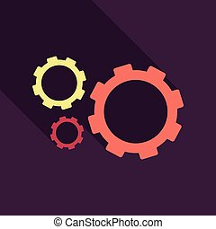 Three gear sign simple icon on background with shadow