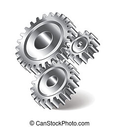 Three gear wheels vector illustration