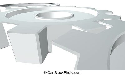 Three gears 3d animation of white color rotates . White background. Alpha channel. Close up