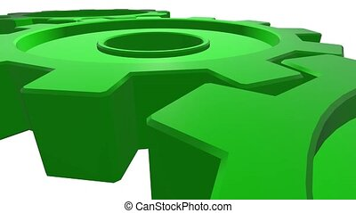 Three gears of green color 3d animation. White background....