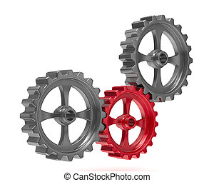 Three gears on white background. Isolated 3D image