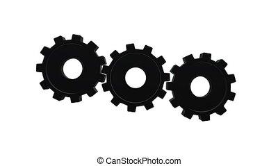 Three gears spinning flies . White background. Alpha channel...
