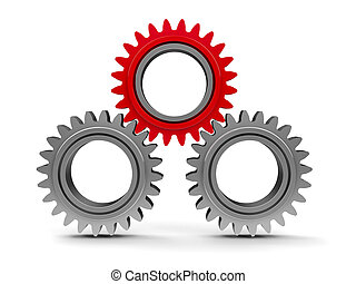 Three gears with red gear #2
