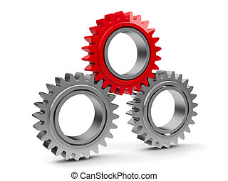Three gears with red gear