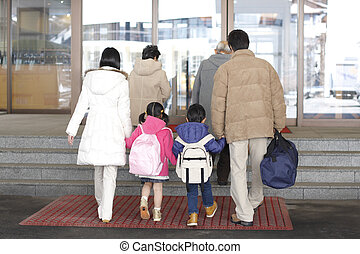 three-generation family going on a trip