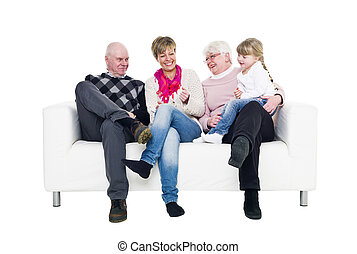 Three generation family - Woman with her parents and...