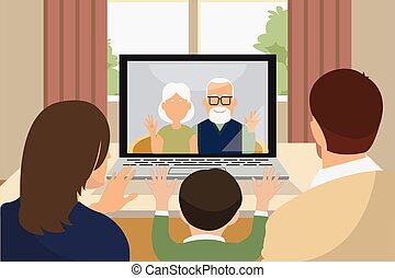 three generation family talking via video call