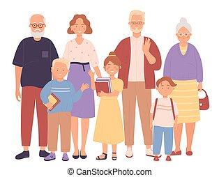Three generation happy full family flat character vector illustration concept