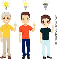 Three Generation Idea Light Bulb