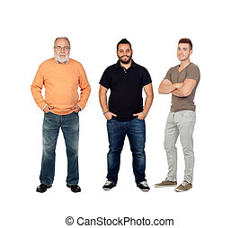 Three generations of men isolated on a white background