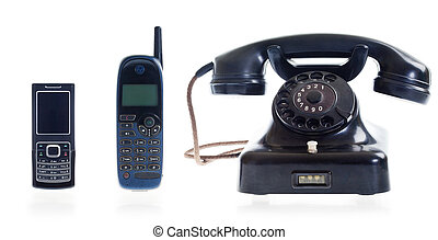 Three generations of telephones - From old dial phone to...