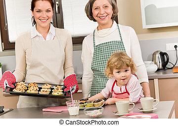 Three generations of women baking in kitchen