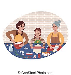 Three generations of women cooking together. Domestic family time.