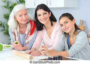 three generations of women grandmother mother and daughter