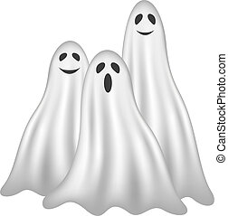 Three ghosts in white design with face on white background