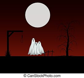 Three ghosts standing in cemetery