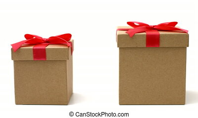 Three Gift Boxes on White