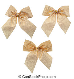 Three gift gold ribbon and bow