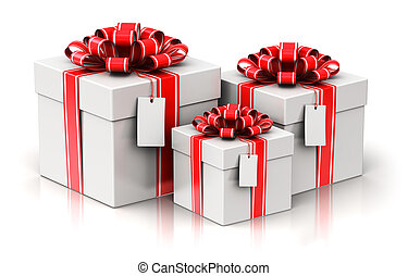 Three gift or present boxes with ribbon bows and label tags
