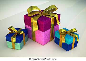 Three gifts with golden ribbons