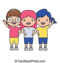 three girl embraced