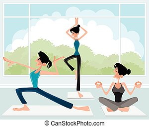Three girl practicing yoga
