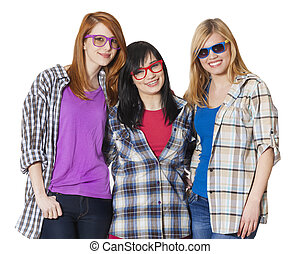 Three girlfriends at white background isolated