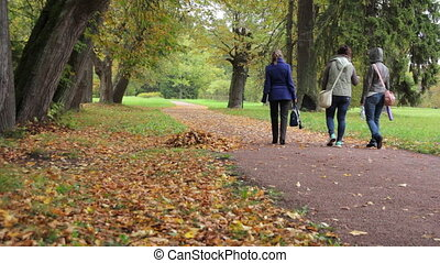 Three girlfriends in autumn Park