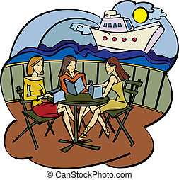 three girlfriends in cafe - Vector illustration - three...
