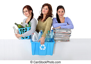three girlfriends waste sorting