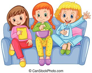 Three girls at slumber party illustration