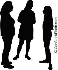 three girls body silhouette