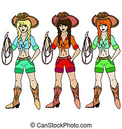 Three girls cowgirl with lasso. Vector illustration. Isolated on