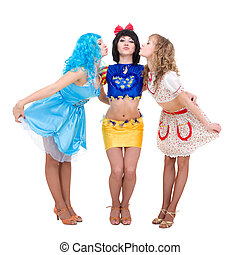 Three girls dressed in puppet posing