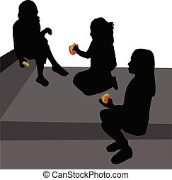 three girls eating hamburger, silhouette vector