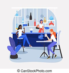 Three girls, friends, students or colleagues sitting in a nice caf?, restaurant or bar, drinking soda, having a conversation, talking, sharing their thought and ideas. Vector cartoon flat illustration