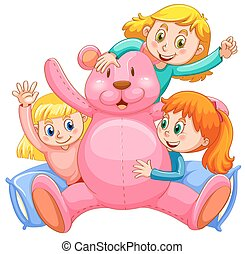 Three girls hugging pink teddy bear illustration