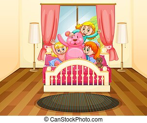 Three girls in bedroom with pink teddybear illustration