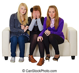 Three girls look a horror movie - The three girls look a...