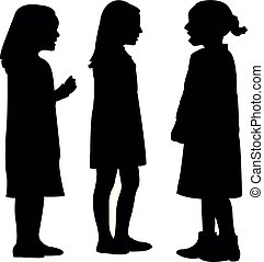 three girls making chat, silhouette vector