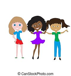 Three girls of different races.