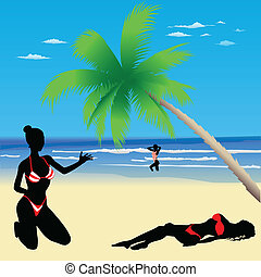 Three girls on the beach