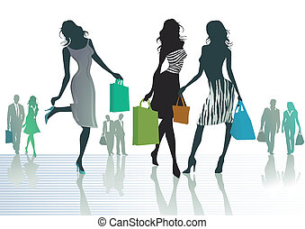 three girls out shopping