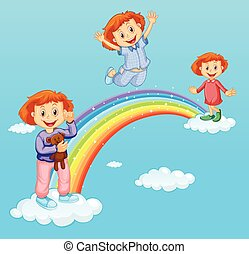 Three girls over the rainbow