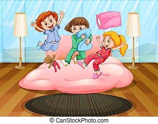 Three girls playing at slumber party illustration