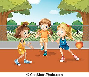 Three girls playing basketball in the court