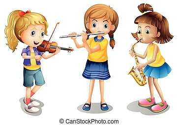 Three girls playing classical instruments illustration